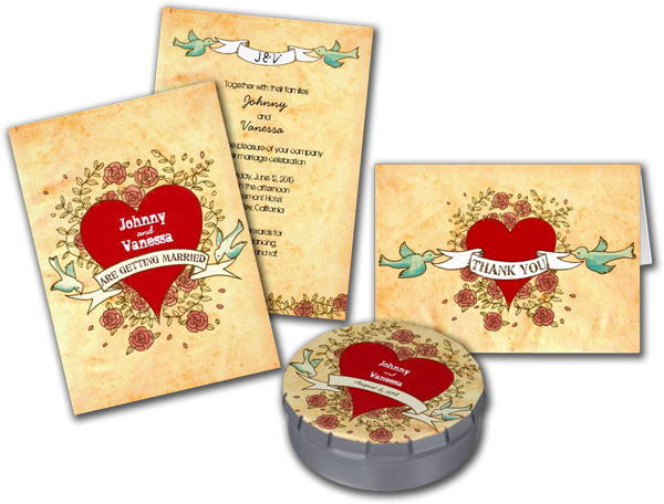 Rock 'n' Roll Wedding (Roses) Personalized Invitation