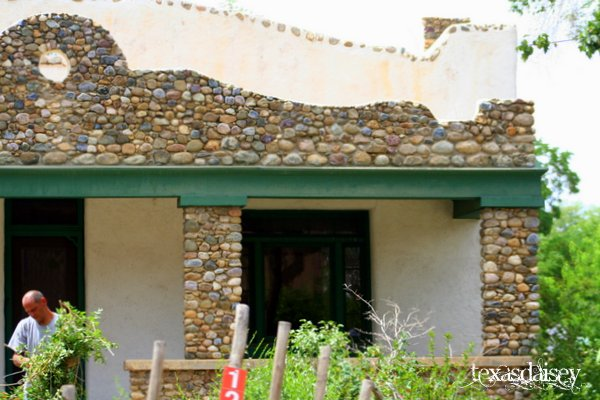Taos building with stacked stone facing