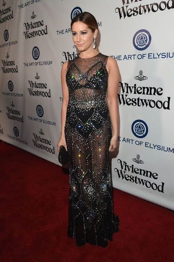 Ashley Tisdale in sheer black dress at The Art of Elysium 2016 HEAVEN Gala red carpet photo