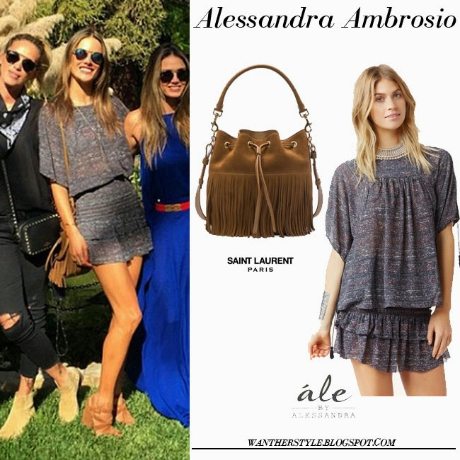 Alessandra Ambrosio in grey ruffled mini skirt, grey top and brown suede fringe bag Saint Laurent Emmanuelle want her style spring fashion inspiration