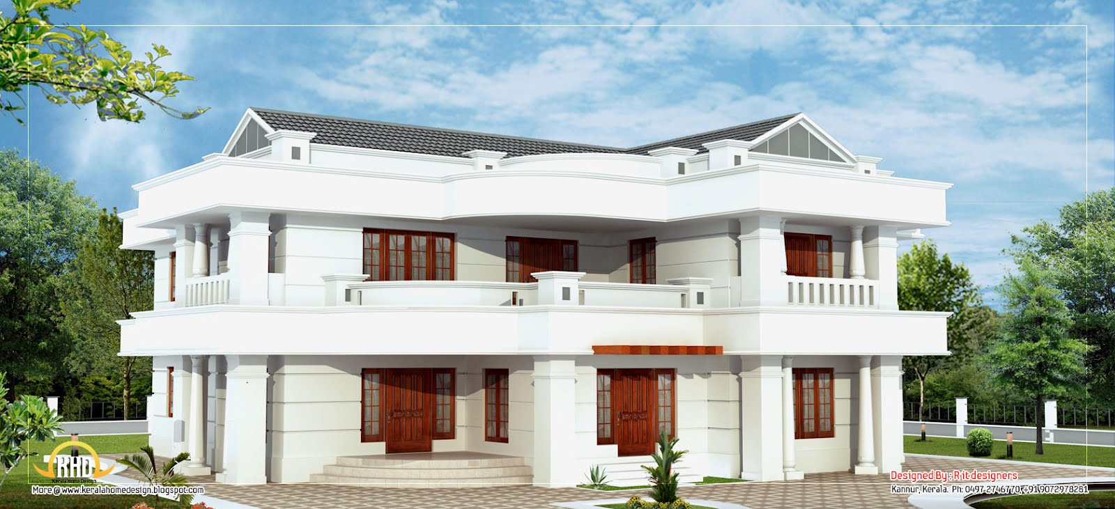 Beautiful 2 story house elevation 3665 sq ft indian for Beautiful double story houses
