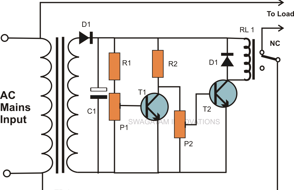 electro diagram  simple mains ac over voltage and under