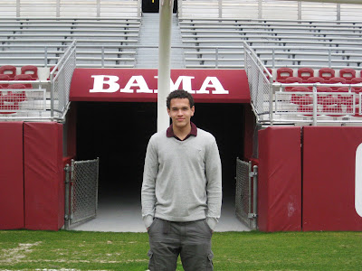 4* WR Derek Kief standing in Alabama's Bryant–Denny Stadium, located in Tuscaloosa, Alabama