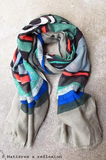 Foulard rouge et vert hiver 2014 Mii