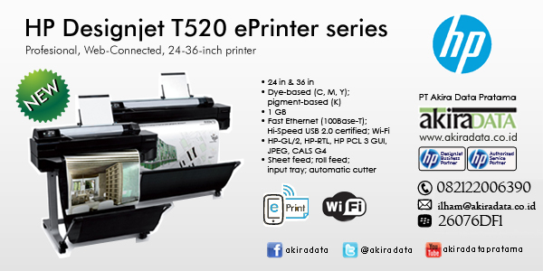 jual plotter hp designjet t520 eprinter 24 in a1 jual