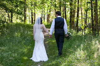 Shaina and Thomas walk a forest path - Kent Buttars, Seattle Wedding Officiant