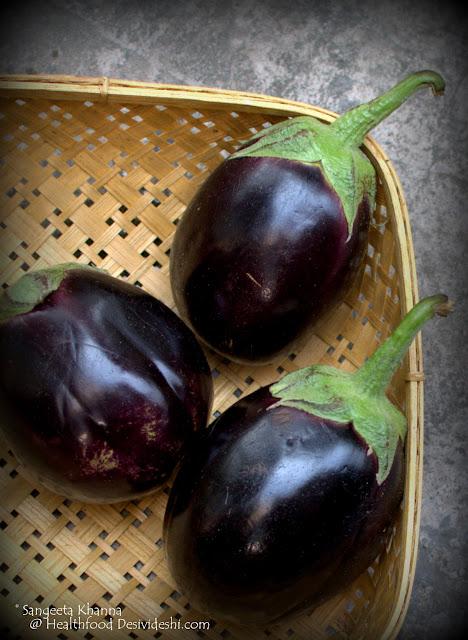 round purple brinjals
