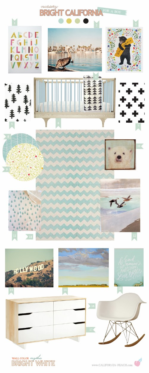 Bright California for a Girl | Baby Room Nursery Style Board