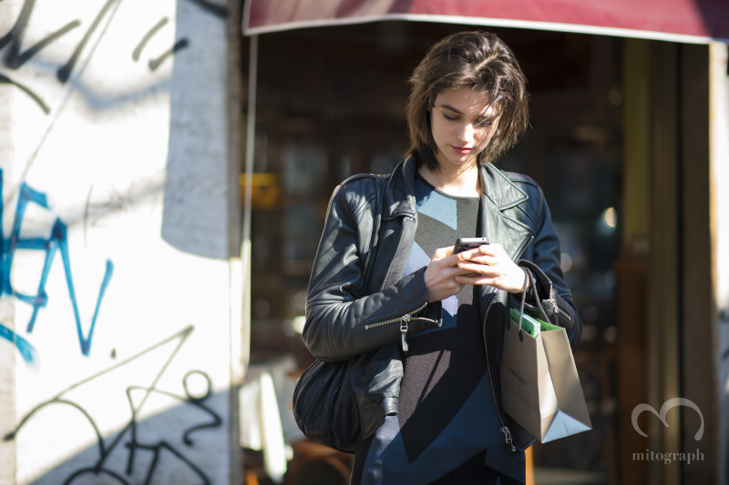 Model Manon Leloup is waiting for her driver after Giorgio Armani Show during Milan Fashion Week MFW 2014 Fall Winter Season