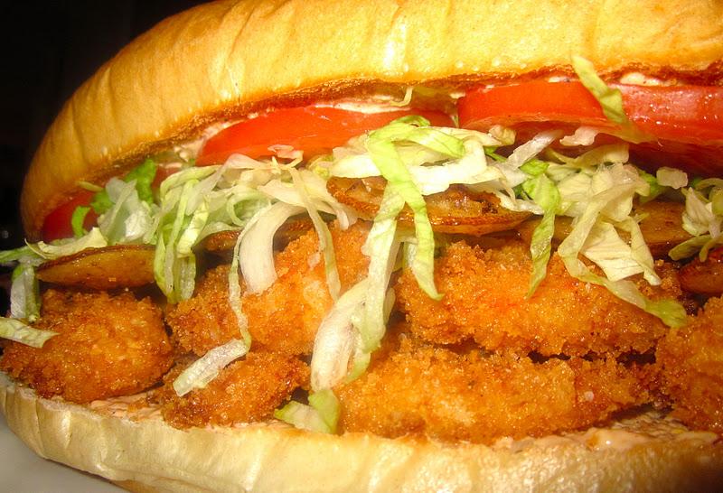Crispy Shrimp Po'boys with Fried Lemon Wheels & Pickled Green Tomato ...