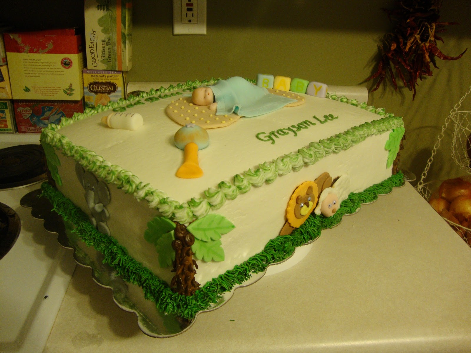 part baby shower cake that I made for a young mom who wanted a jungle ...