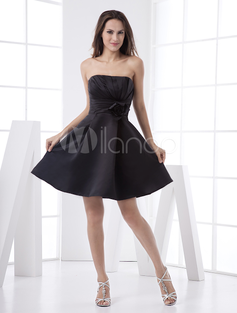 China Wholesale Homecoming Dresses - Feminine Black Strapless Satin A-line Womens Homecoming Dress