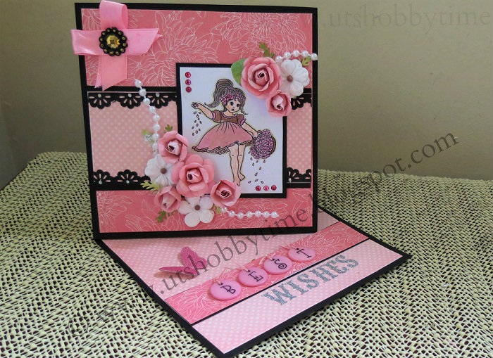 Uts Hobby Time Handmade Best Wishes Greeting Twisted Easel Card
