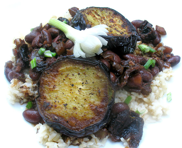 southern-style pinto beans with eggplant