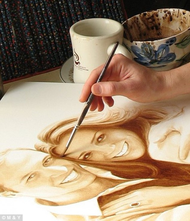 Beautiful art piece made with coffee art in every form for Painting with coffee