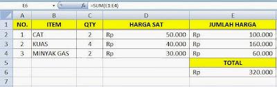 Formula Penjumlahan Otomatis di Microsoft Excel