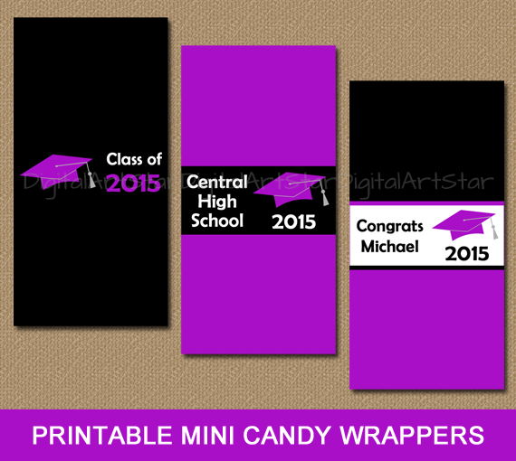 Personalized purple and black graduation candy wrappers to use as party favors