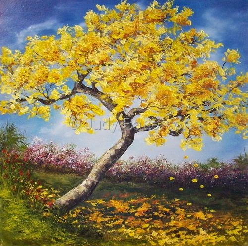 Daily painters of florida bursting forth oil painting of yellow this oil painting seems to capture spring time and the easter season the blooming yellow tabebuia is one of my fav trees although this one is sold mightylinksfo