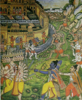 As the climax of the battle approaches, Ravana comes face to .face with Rama, who pierces him repeatedly with deadly arrows. la the background monkeys hurl rocks and mountain peaks.