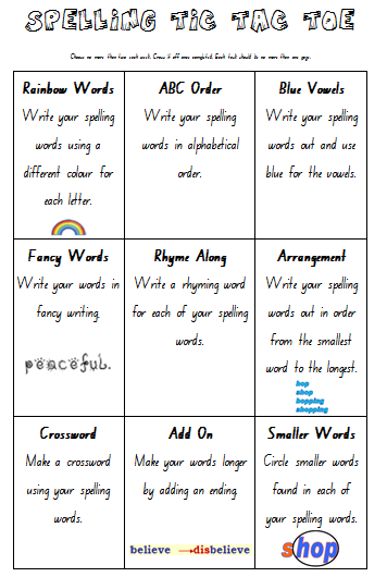 tic tac toe homework template teach cheat homework spelling tic tac toe