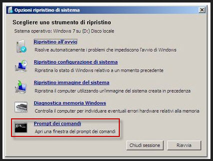 Prompt dei comandi - Windows 7