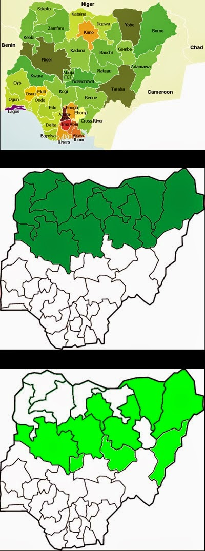 Top - States of Nigeria (Map by Marcel Krüger); Middle - States where Boko Haram operates and that implement some form of Sharia law (Map by Nerika); Bottom - States where Boko Haram has staged attacks (Map by Bohr). Source: Wikipedia.