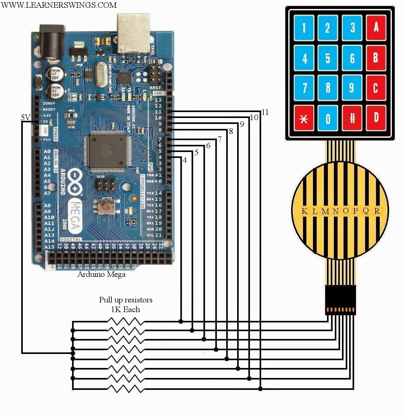 Demonstration Of Interfacing 44 Button Pad To Arduino Mega Circuit A Is Here We Will Design Interface This Simple Done As Shown In The