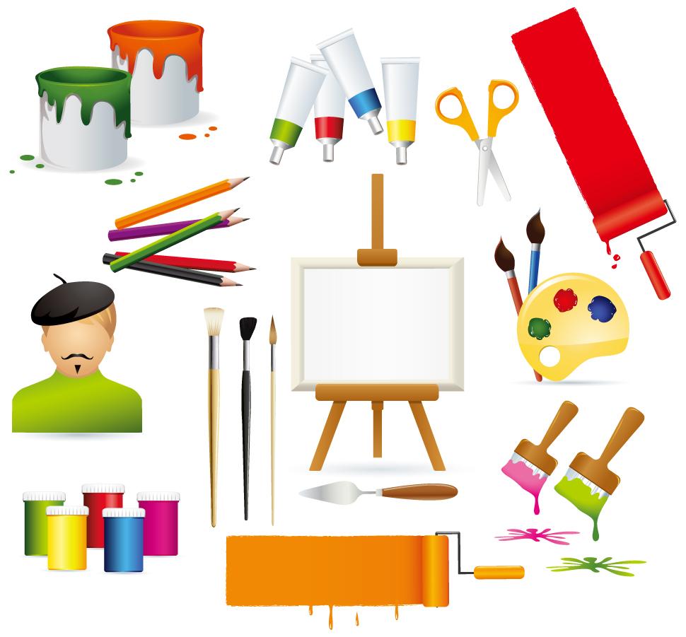 ペイント用品のクリップアート vector drawing supplies イラスト素材