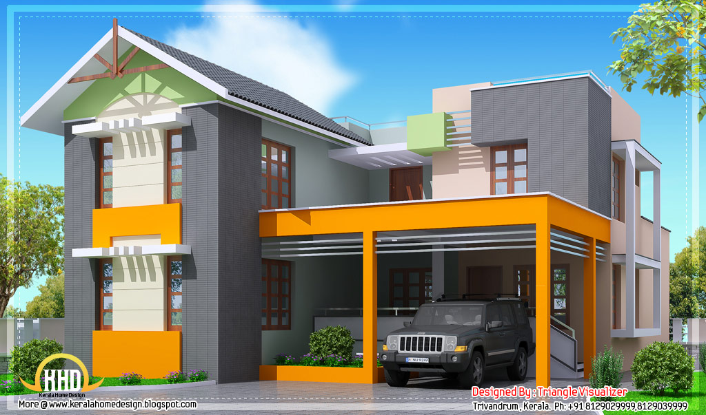 Modern 4 bedroom kerala home design 2000 sq ft for Home designs 2000 sq ft