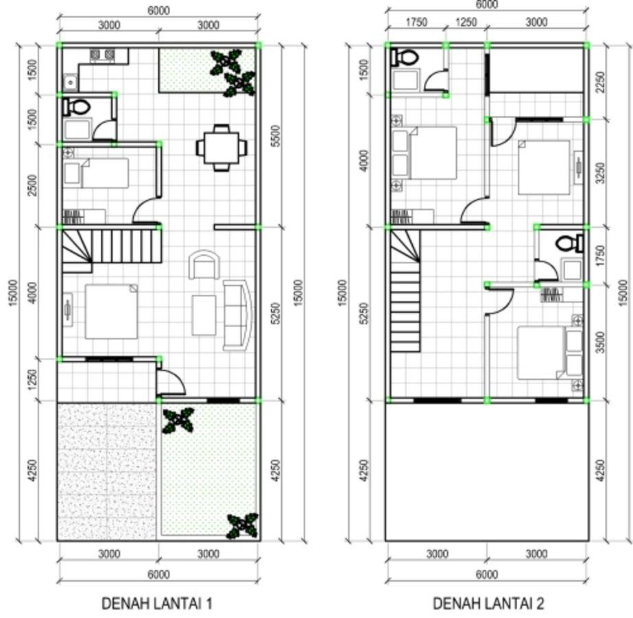 contoh denah rumah minimalis 2 lantai tipe 60 terbaru