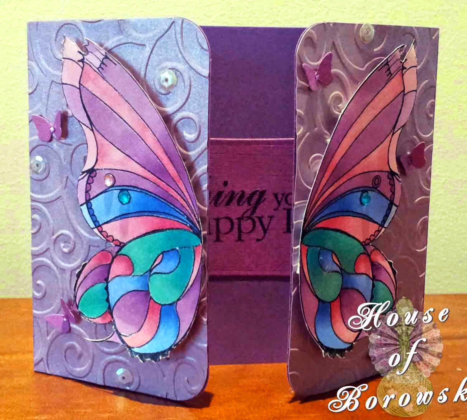 HOB,Fitztown, gatefold, Fitztown Fae18,Gina K Hello Sunshine,Copics MFT Die-namics fancy flourish, MPress curved rectangle,Cuttlebug divine swirl embossing folder