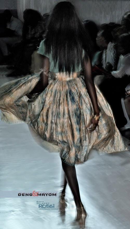 runway model wears silk dress down runway as photographer Gilbert Rossi shoots the new styles, silk, black model, modelling portfolio shoot