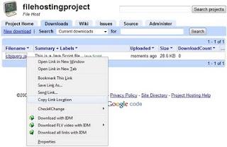klik kanan dan copy link javascript dari hosting google code