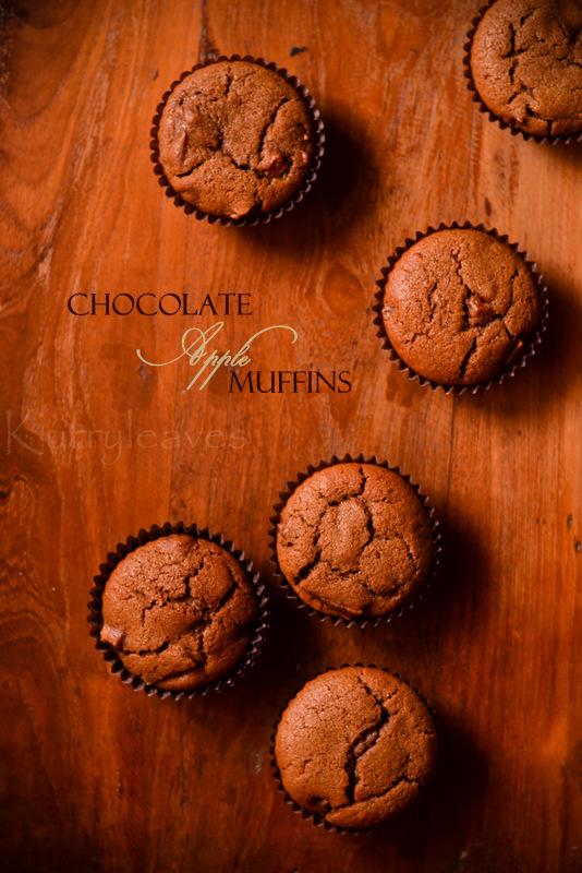 chocolate apple muffins | whole wheat- vegan apple muffins