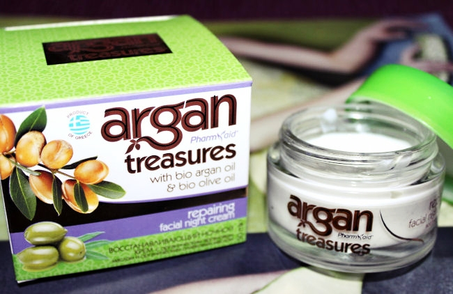 Pharmaid Argan treasures, Repairing facial night cream. Pharmaid Argan Treasures, Nocna krema za regeneraciju koze. Pharmaid Argan Treasures products. Greek beauty products.