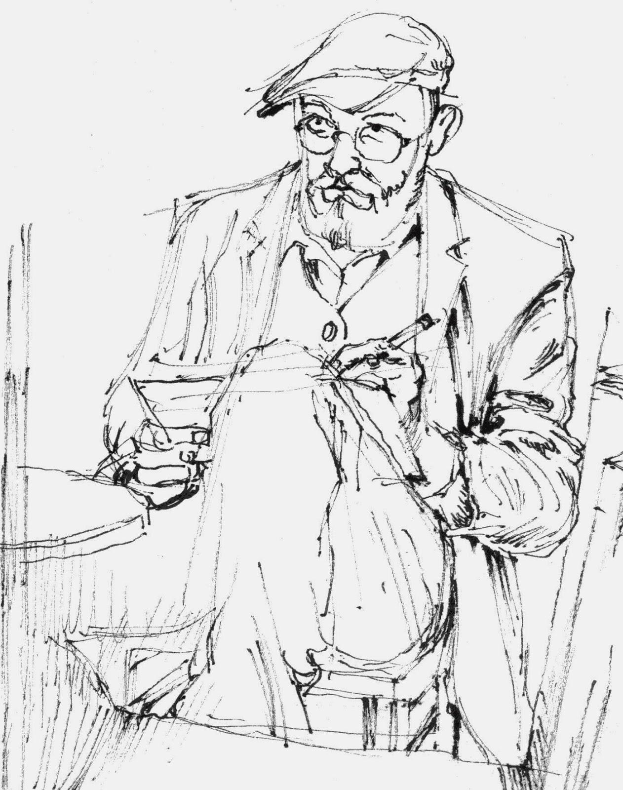zeichnung, wolfgang Glechner, selfie, selbstportraet, tusche, pen drawing, filzstift, kaffeehaus, spiegel, man in the mirror