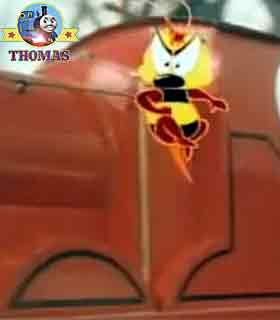 Thomas the train James Goes Buzz buzz flying bee cloud turned to coal fire boiler nice and warm