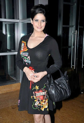 Bollywood actress Zarine Khan News Stills in Black Dress