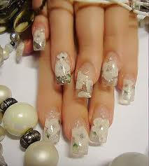 Clear Nail Art with White Flowers