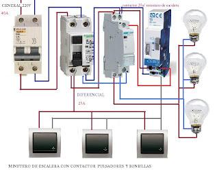 Esquemas eléctricos: CONTACTOR MAS MINUTERO DE ESCALERA