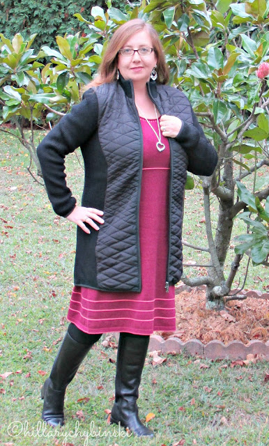 Merlot Knit Dress paired With a Black Nyon Coat from Aventura Clothing