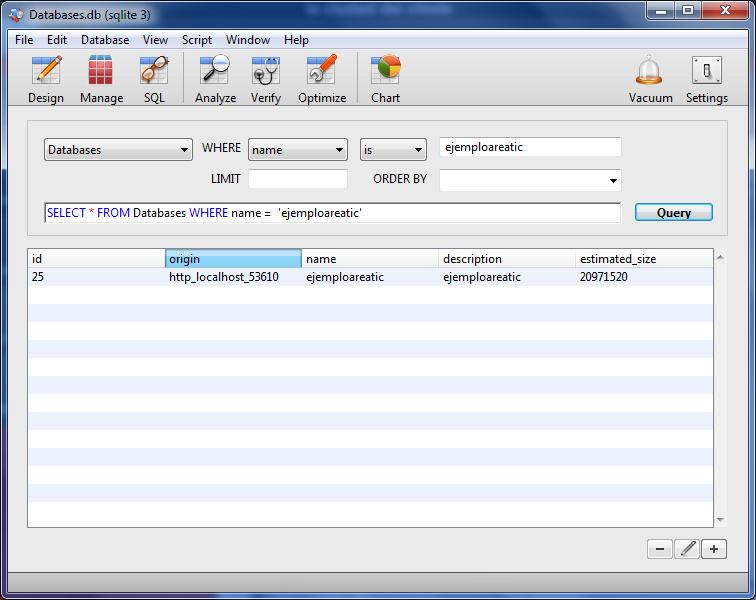 areaTIC, SQLite. Ejemplo sobre como hallar la ruta física de una base de datos en Google Chrome