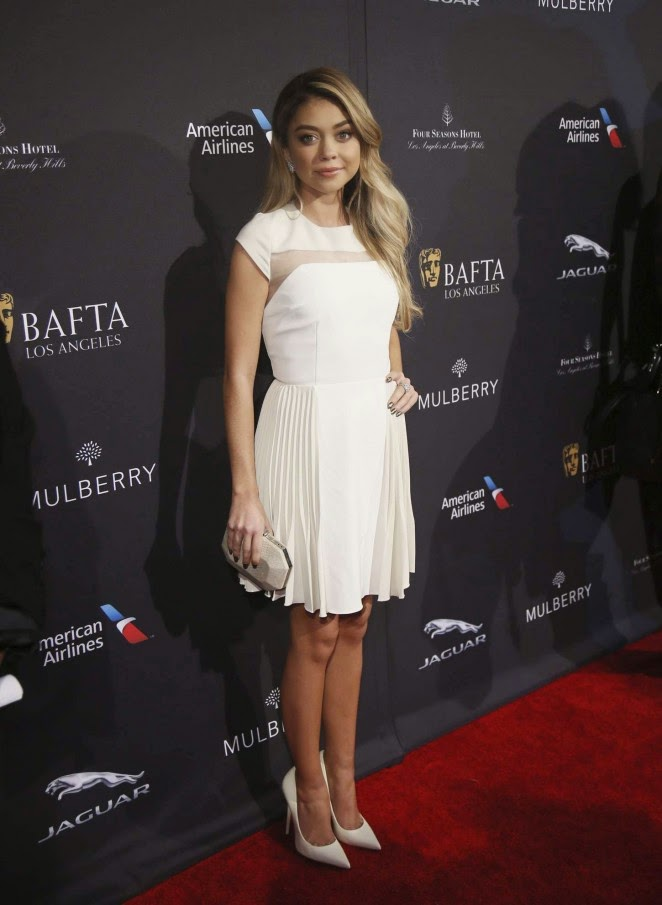 Sarah Hyland is sophisticated in a white dress at the BAFTA LA Tea Party in Beverly Hills