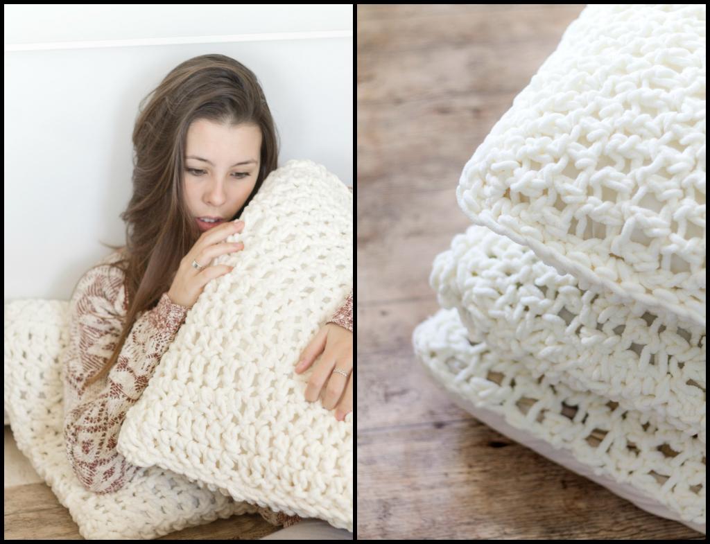 Vicky 39 s home diy crocheteando cojines mullidos de lana gruesa handmade crochet cushion cover - Cojines de lana ...