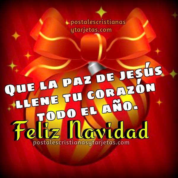 Bonito saludo navideño, feliz navidad, bendecido año nuevo, fin de año con paz. Palabras de buenos deseos cristianos para ti en diciembre. Tarjeta, imagen de navidad por Mery Bracho.