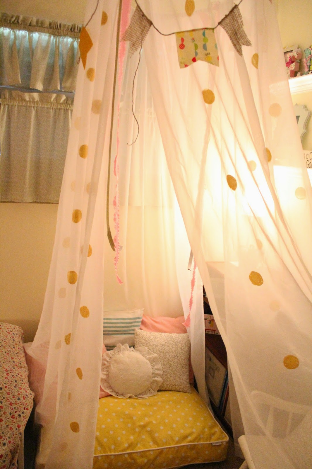 The canopy is so cozy at night when we turn on a l&. It instantly creates a little magical space. & Mommy Vignettes: DIY No-Sew Tent Canopy Tutorial