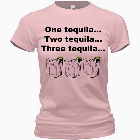 One Tequila Two Tequila Three Tequila Floor Funny Drunk Alcohol Humor Pink Shirt