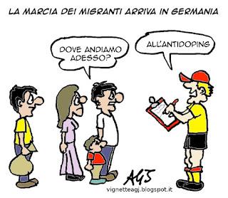 marcia dei migranti, accoglienza, satira vignetta