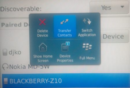 Menu Transfer Kontak via Bluetooth