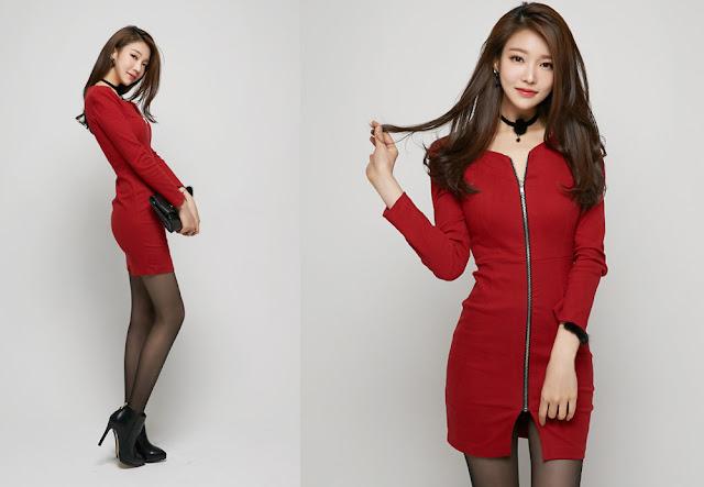 2 Jung Yun - Red Dress - very cute asian girl-girlcute4u.blogspot.com